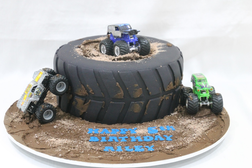 Admirable Monster Truck Tyre Cake Bliss Personalised Birthday Cards Veneteletsinfo